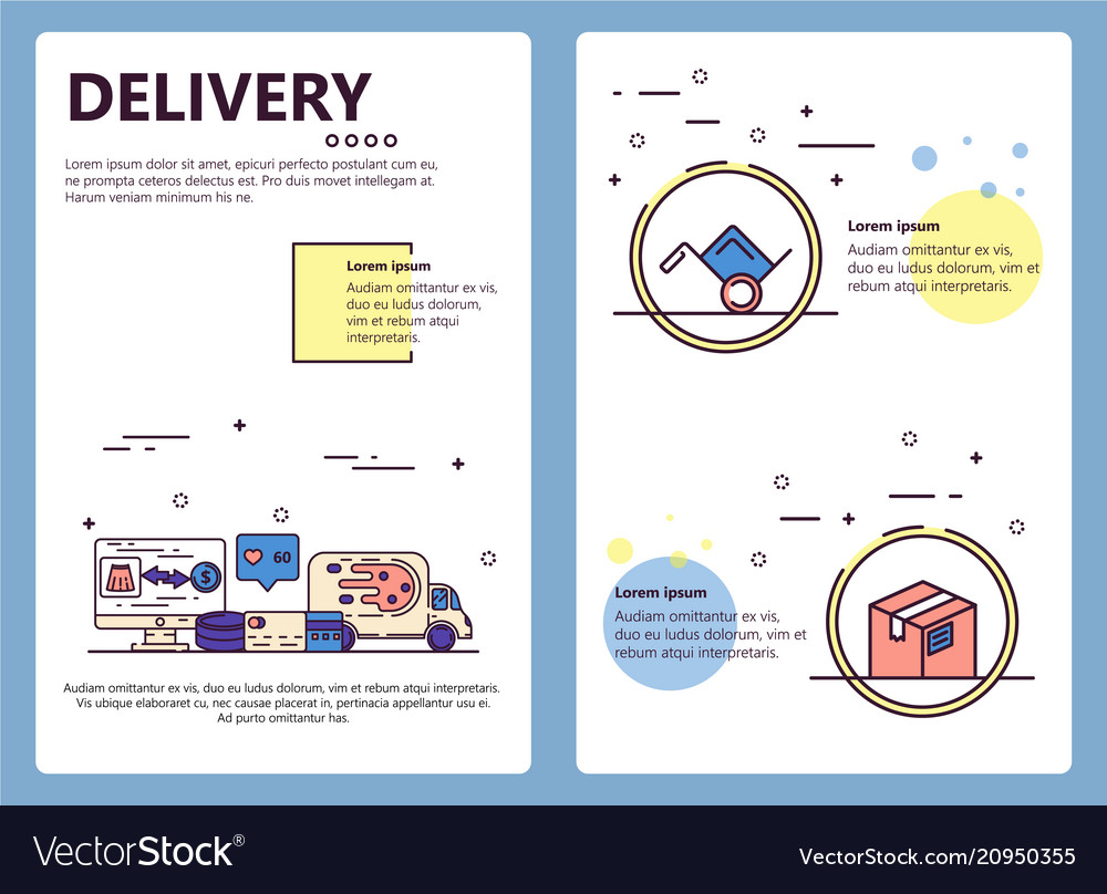 Line art delivery poster banner template