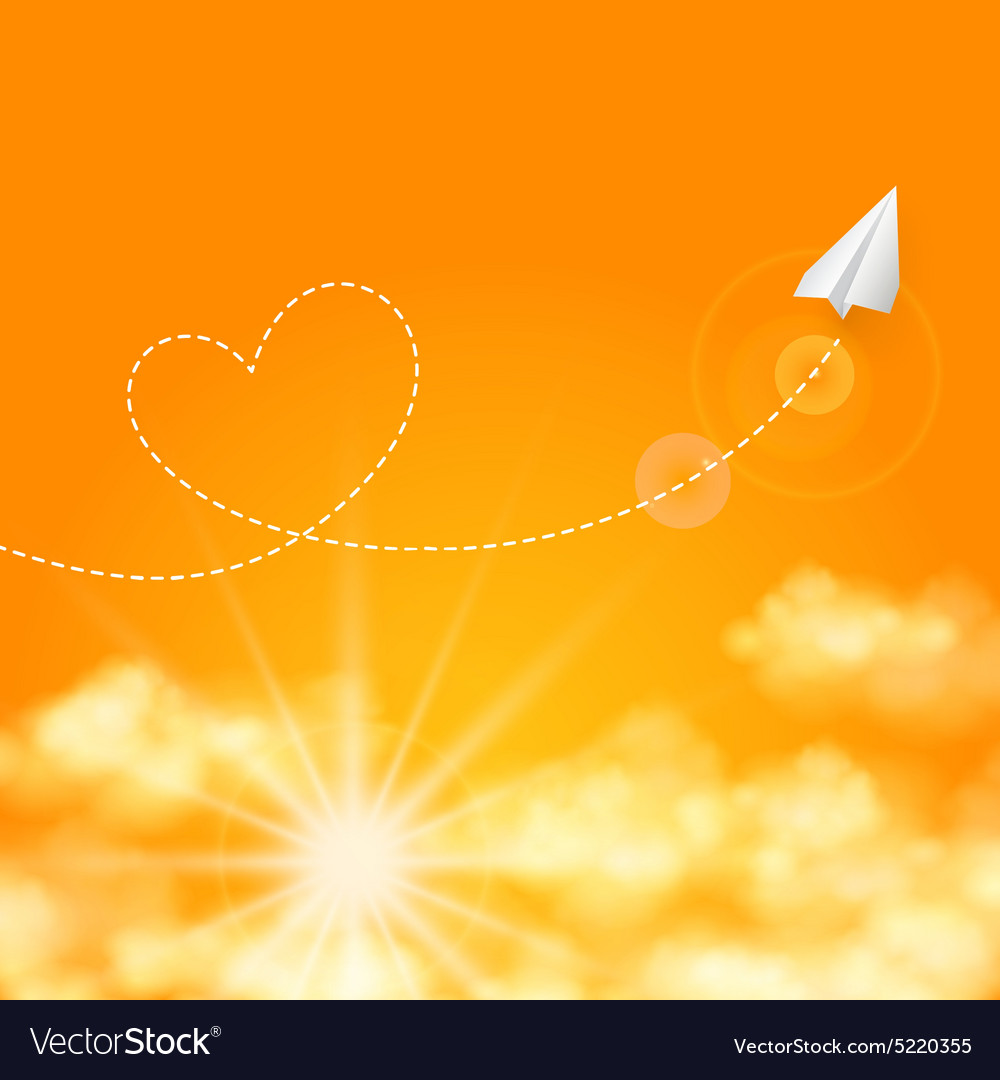 Love travel concept a paper plane flying in the