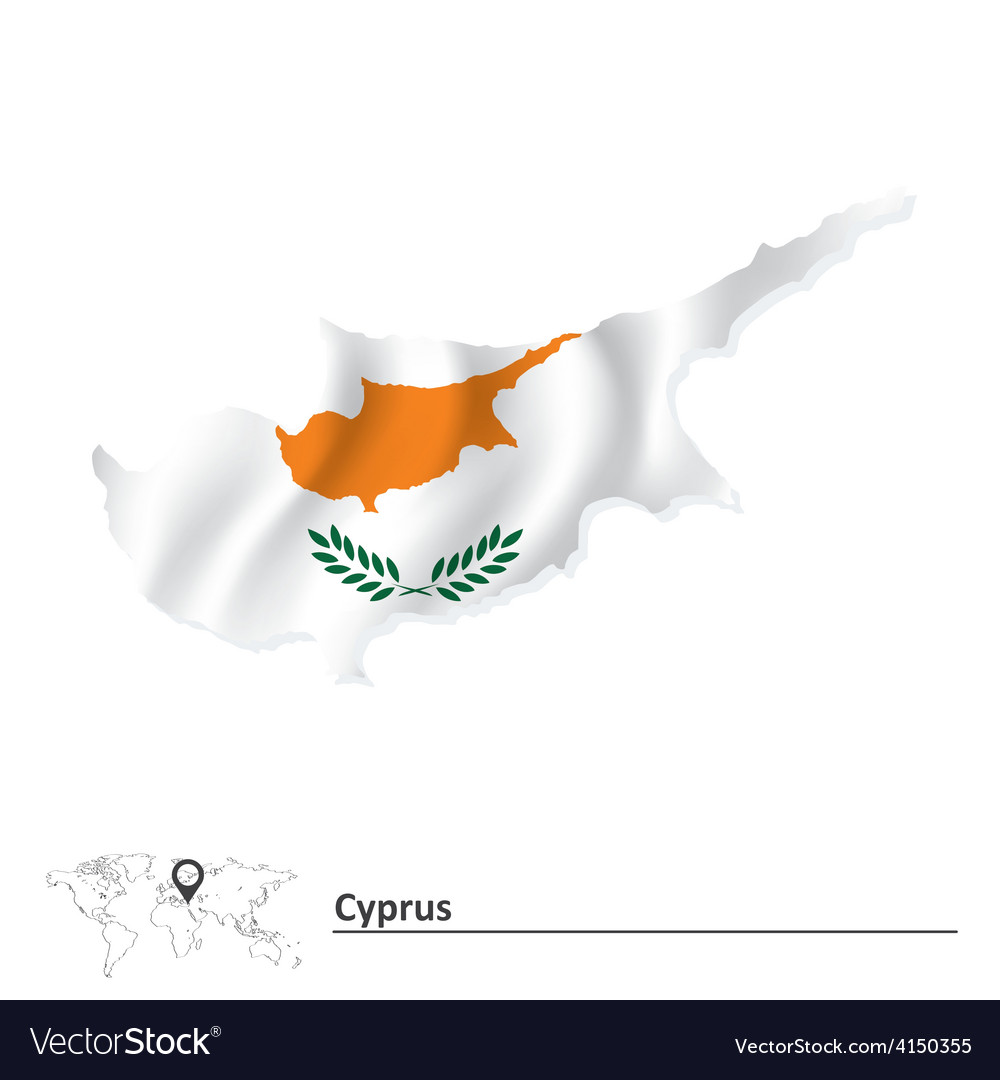 Europe Country Map Flag Map of Cyprus SVG Design Cricut Scrapbook Vector Silhouette Cyprus Flag Cut File National Cyprus Map