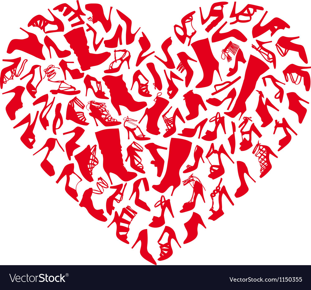 Red shoe heart vector image