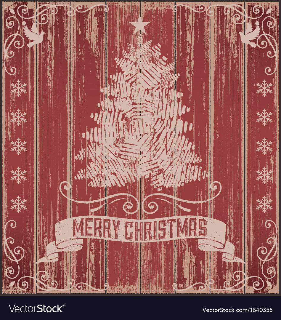 Rustic Vintage Christmas Card vector image