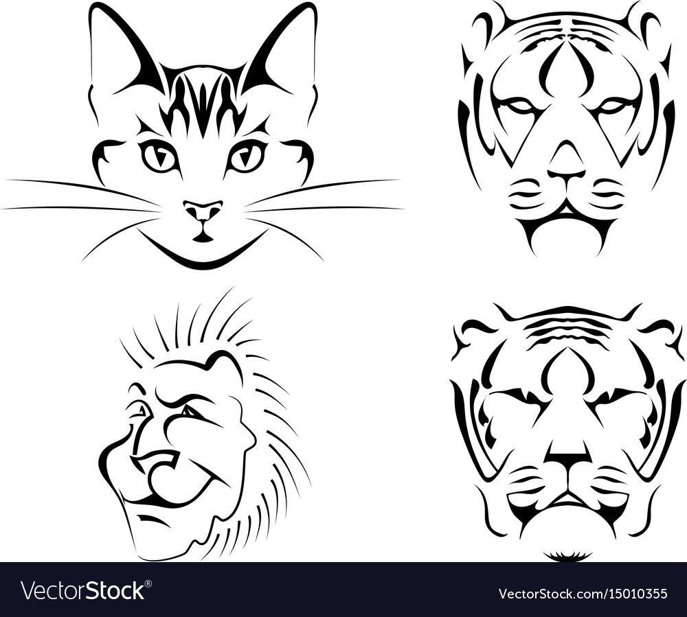 Set of black images of cats on a white background.