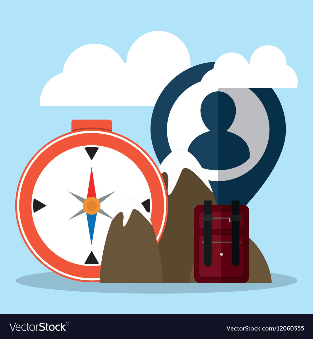 Travel tourism mountain compass suitcase person vector image