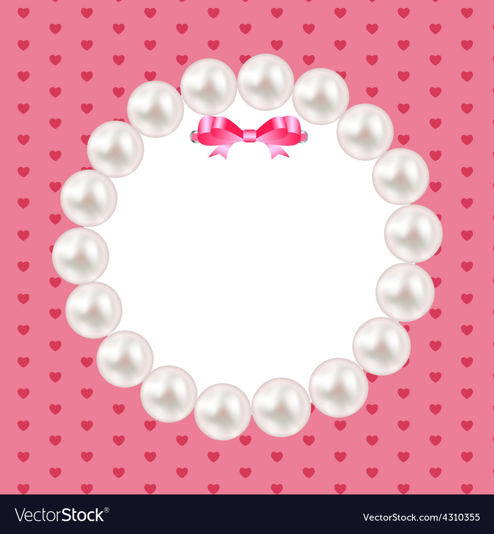 vintage pearl frame with bow background royalty free vector
