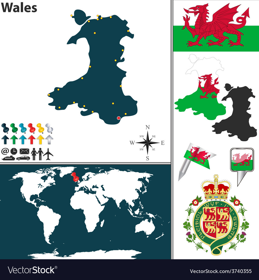 Wales map world Royalty Free Vector Image - VectorStock
