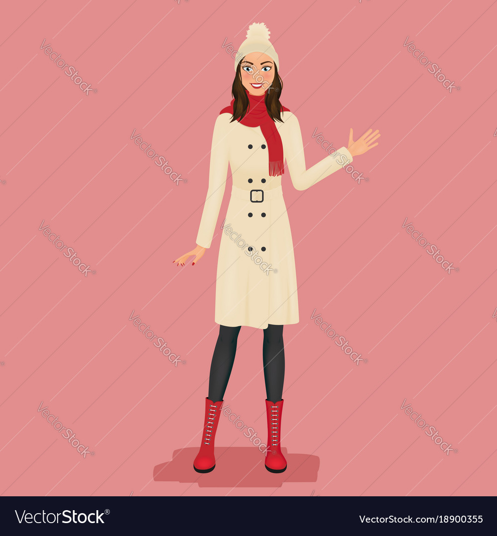 Woman in a coat pom pom hat red scarf and boots