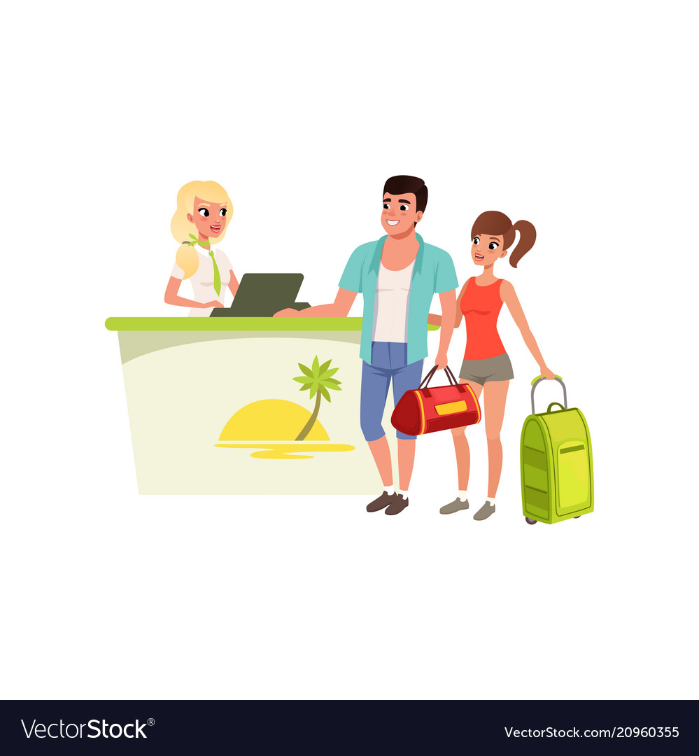 Young tourist couple at hotel reception desk with