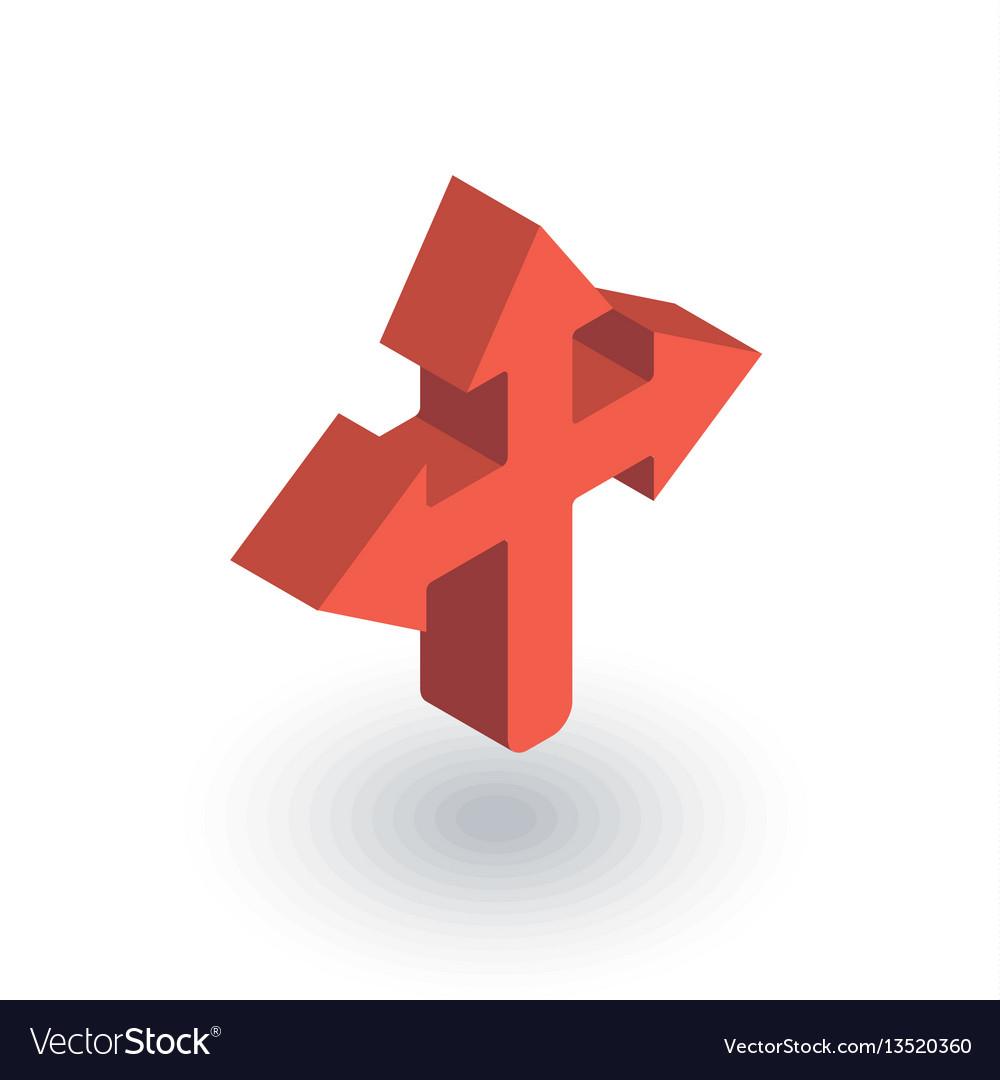 Arrow cross three way isometric flat icon 3d