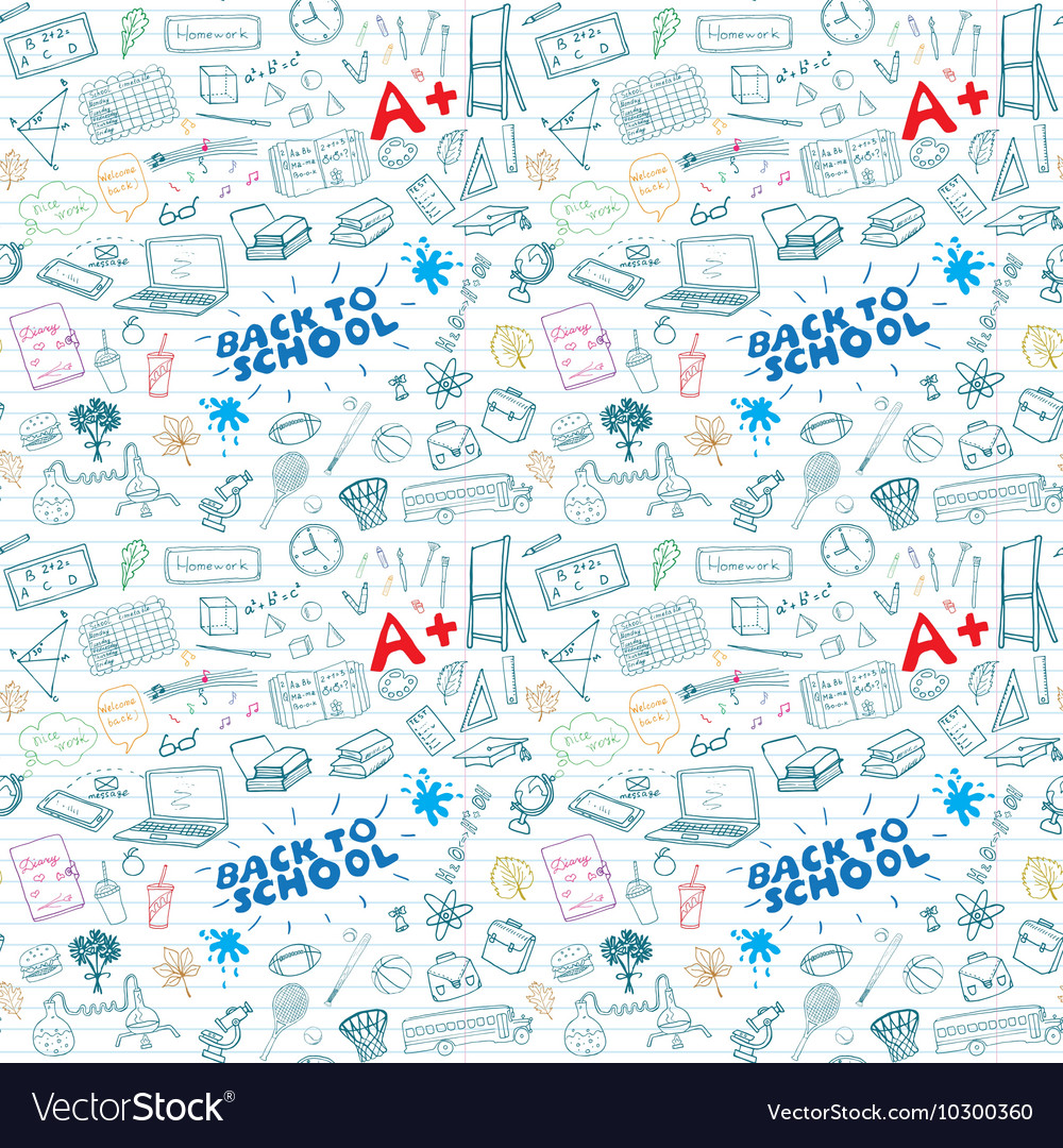 Back to School seamless pattern with Hand-Drawn