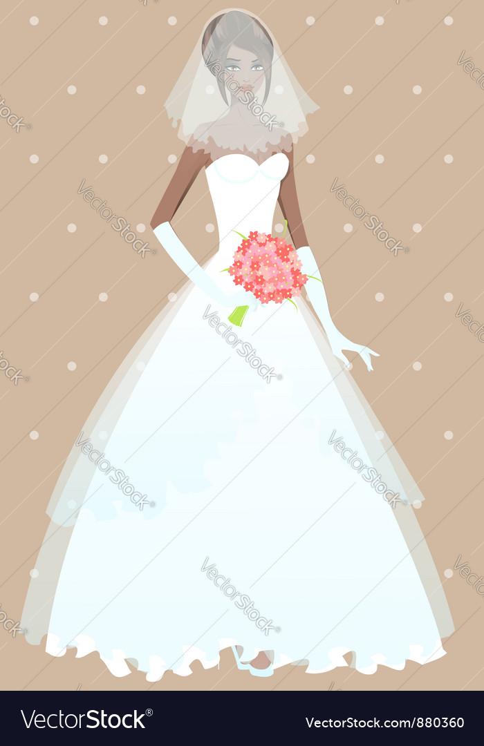 Beautiful girl in wedding dress Royalty Free Vector Image