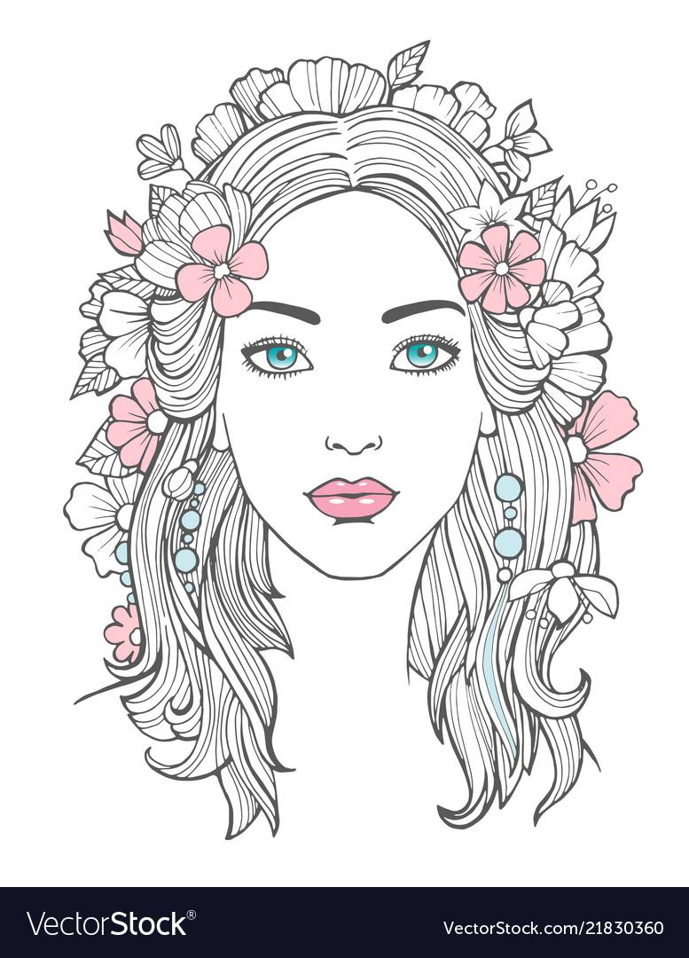 Beautiful woman portrait mysterious drawing