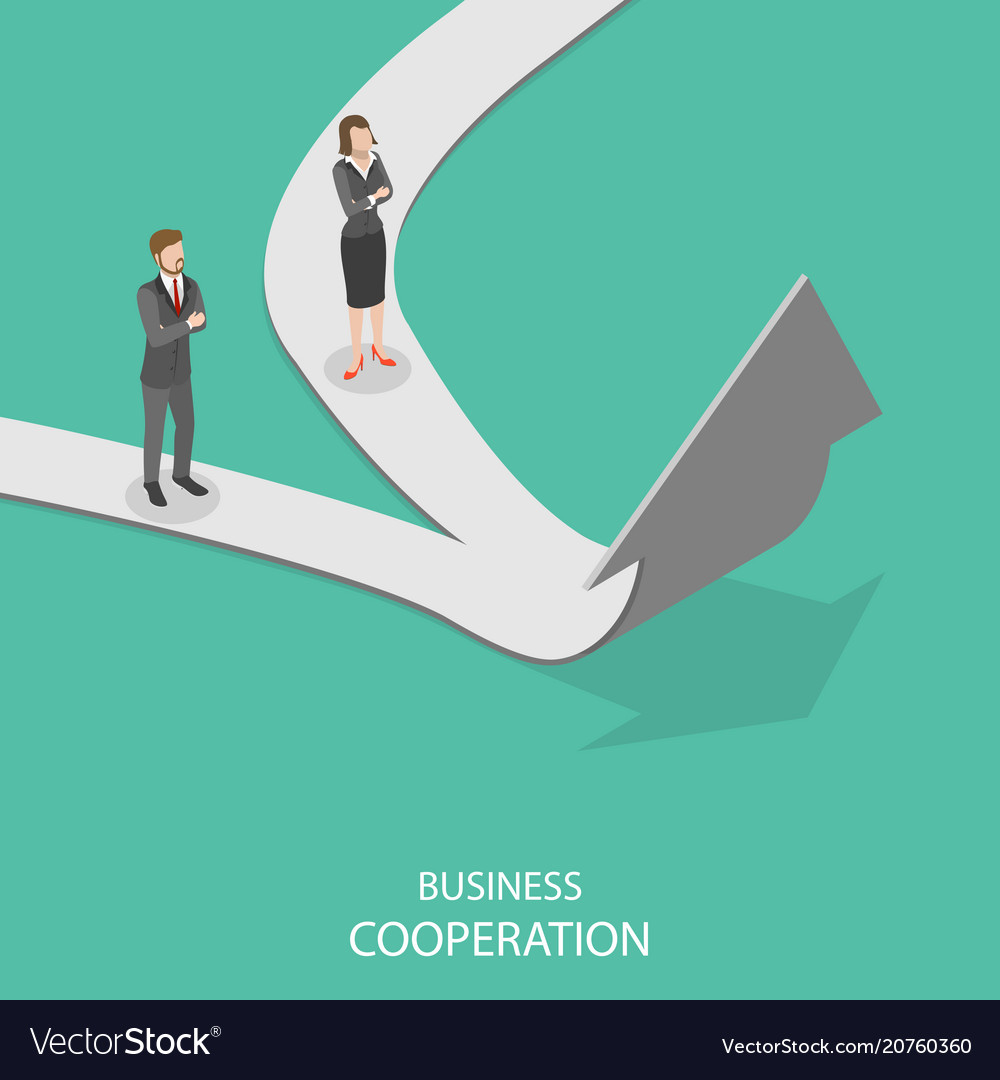 Business cooperation flat isometric concept