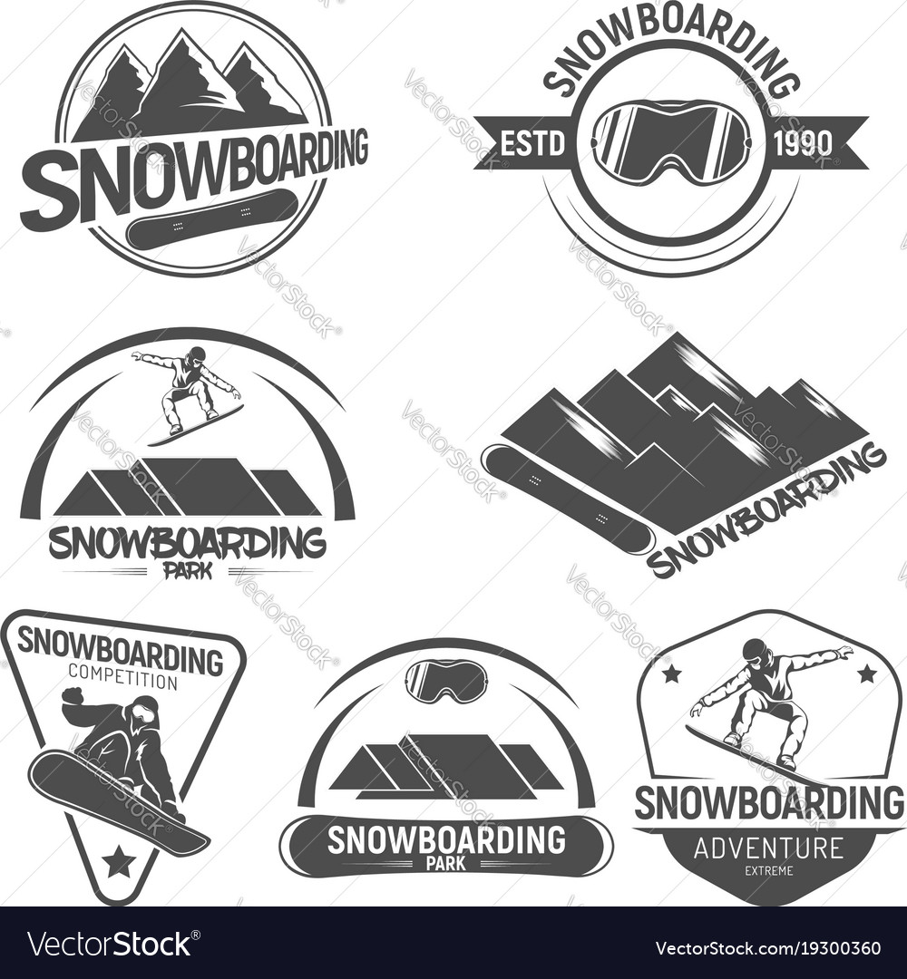 Collection of snowboarding logos emblems and