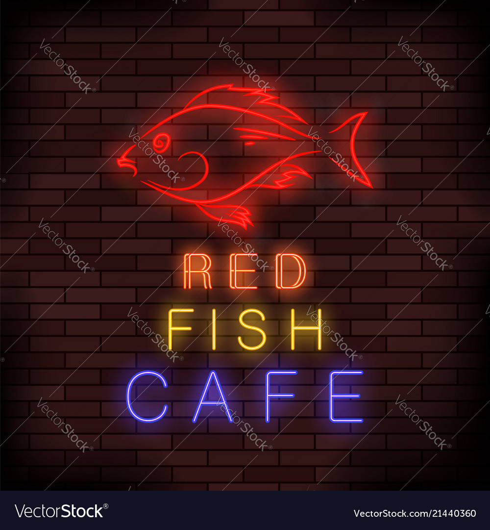 Colorful neon fish food sign Royalty Free Vector Image