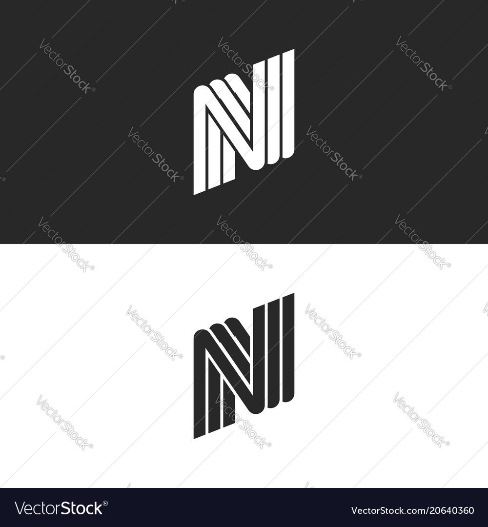 Creative monogram letter n logo black and white