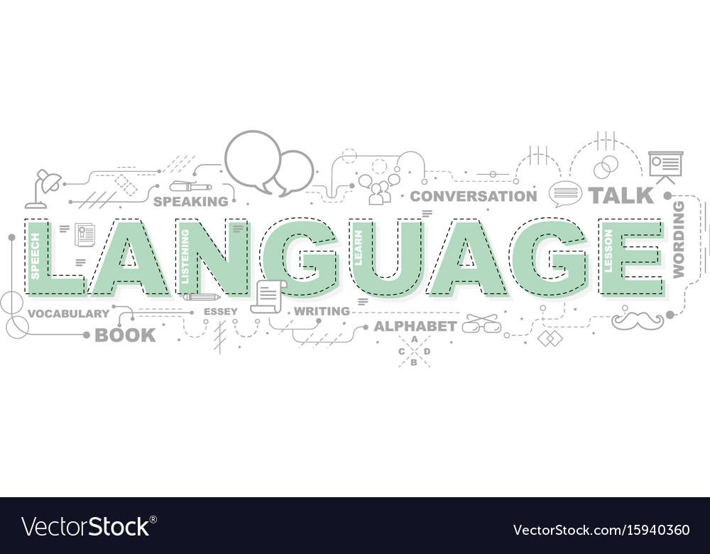 Design concept of word language website banner vector image