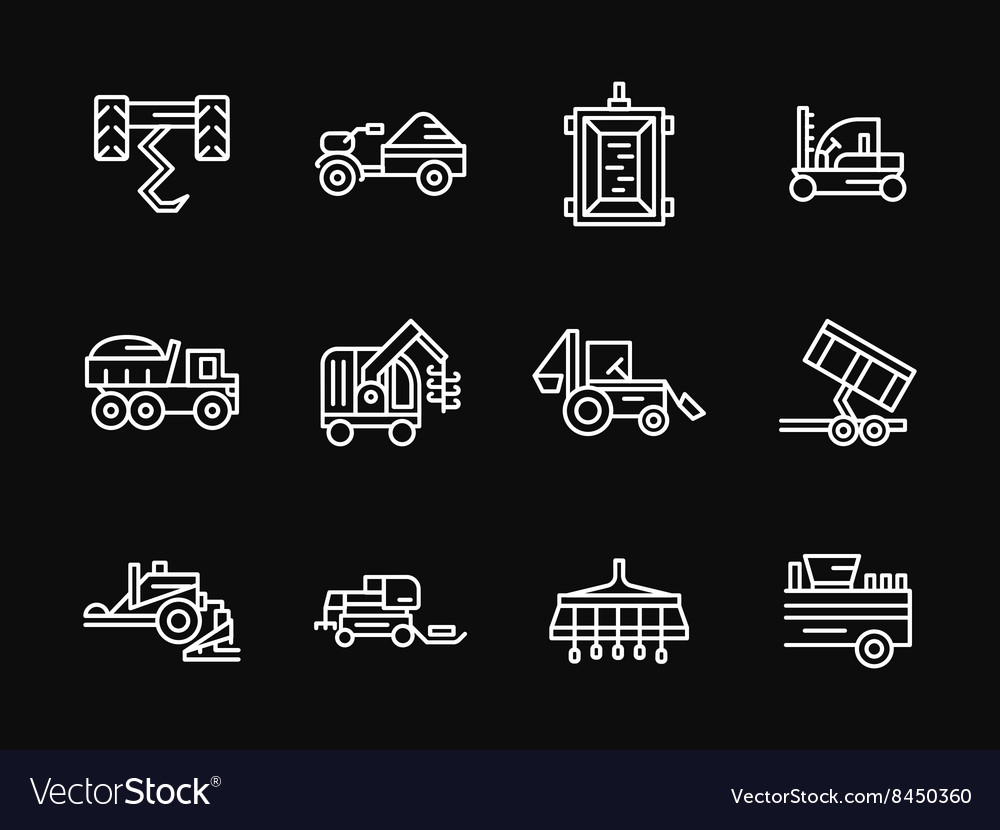 Farming machines white line design icons