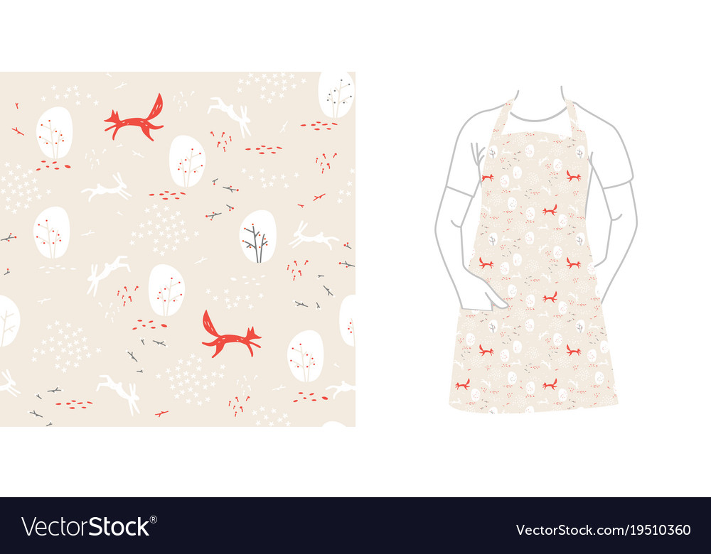 Forest seamless pattern with animals