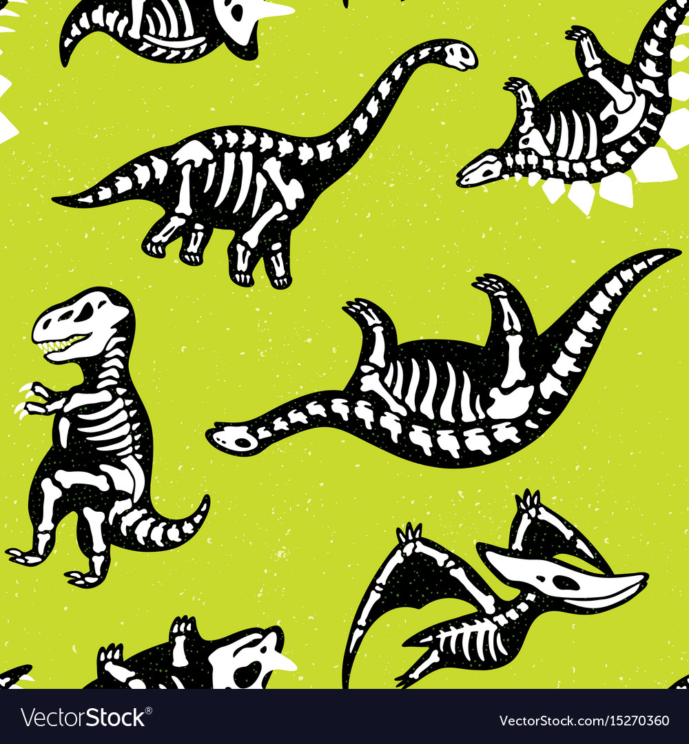Funny cartoon background with fossil dinosaurs vector image