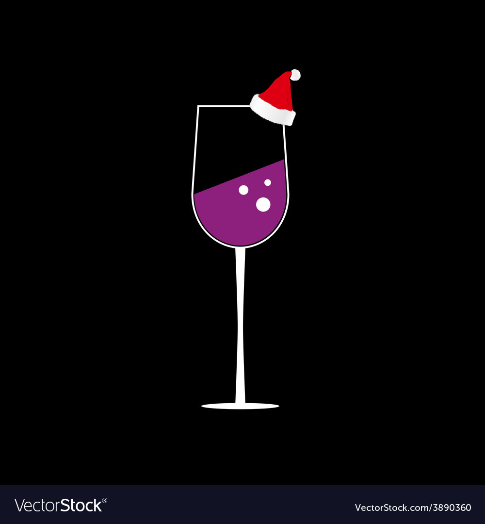 Glass of wine color vector image