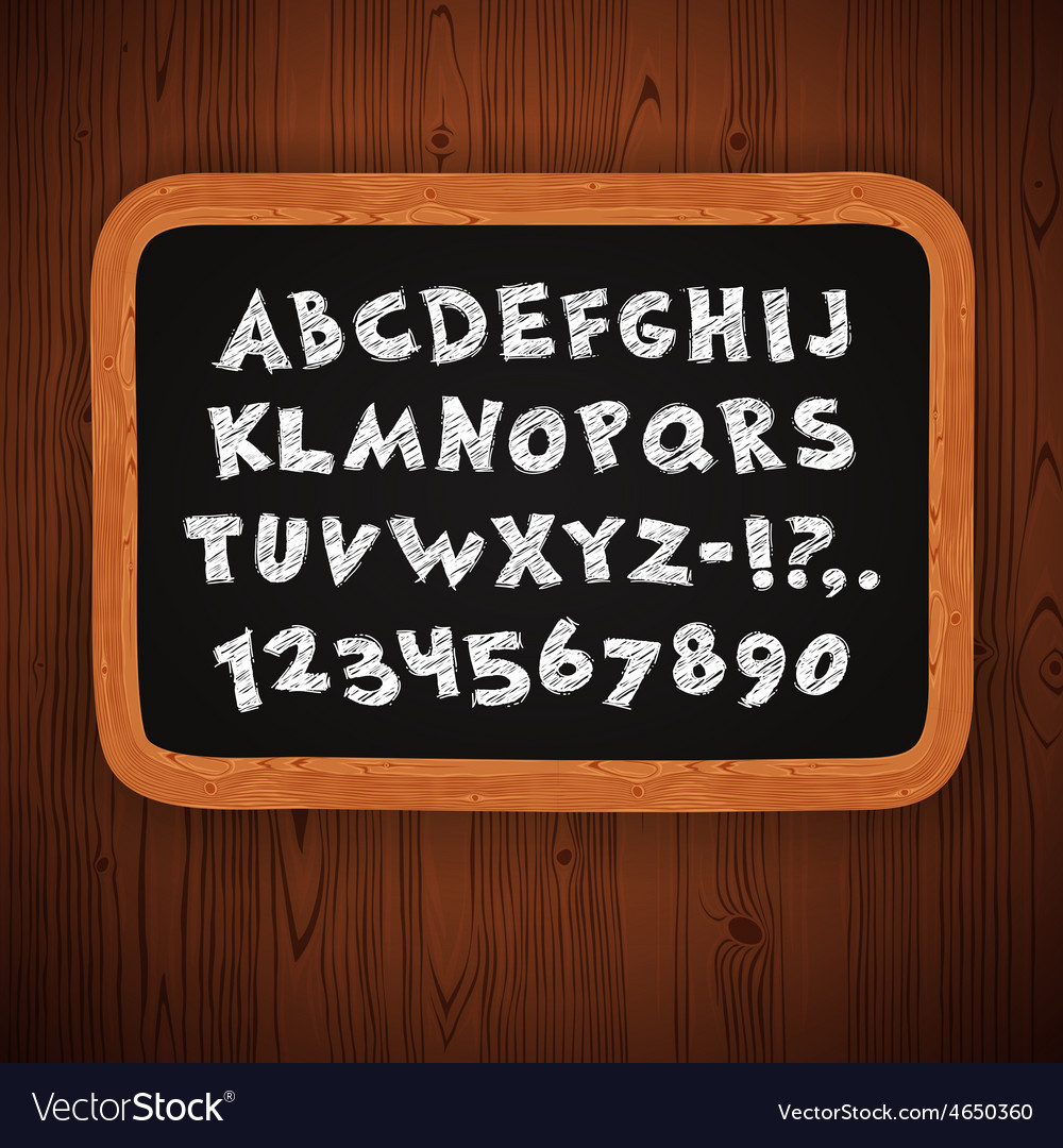 Hand Drawn Chalked Letters and Numbers on vector image
