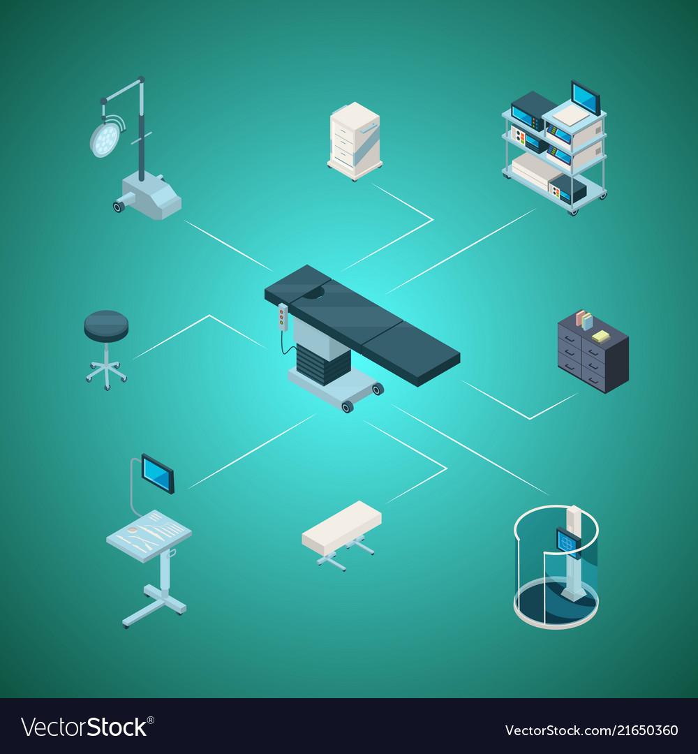 Isometric hospital icons infographic