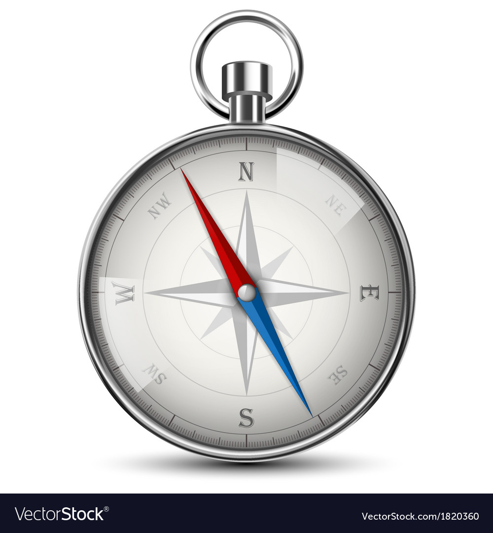 Realistic Compass Isolated On White vector image