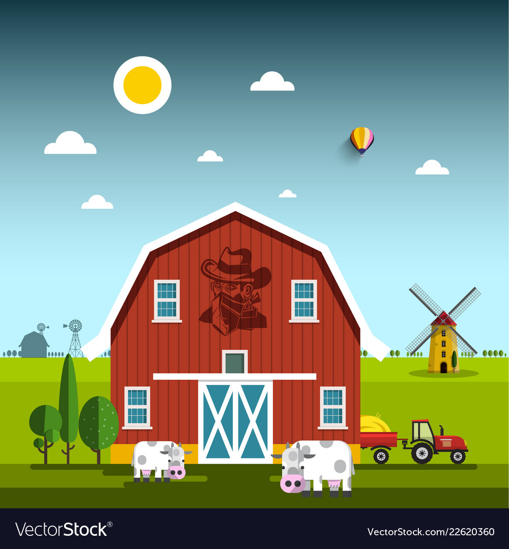 Rural scene with cowboy on barn farm with cows