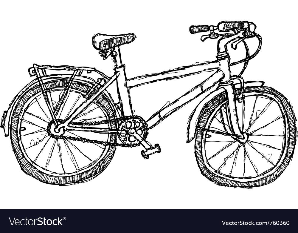 Scribble series - bicycle vector image