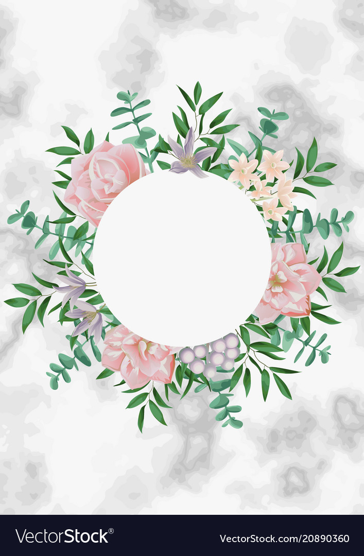 Template with round frame and pink flowers on