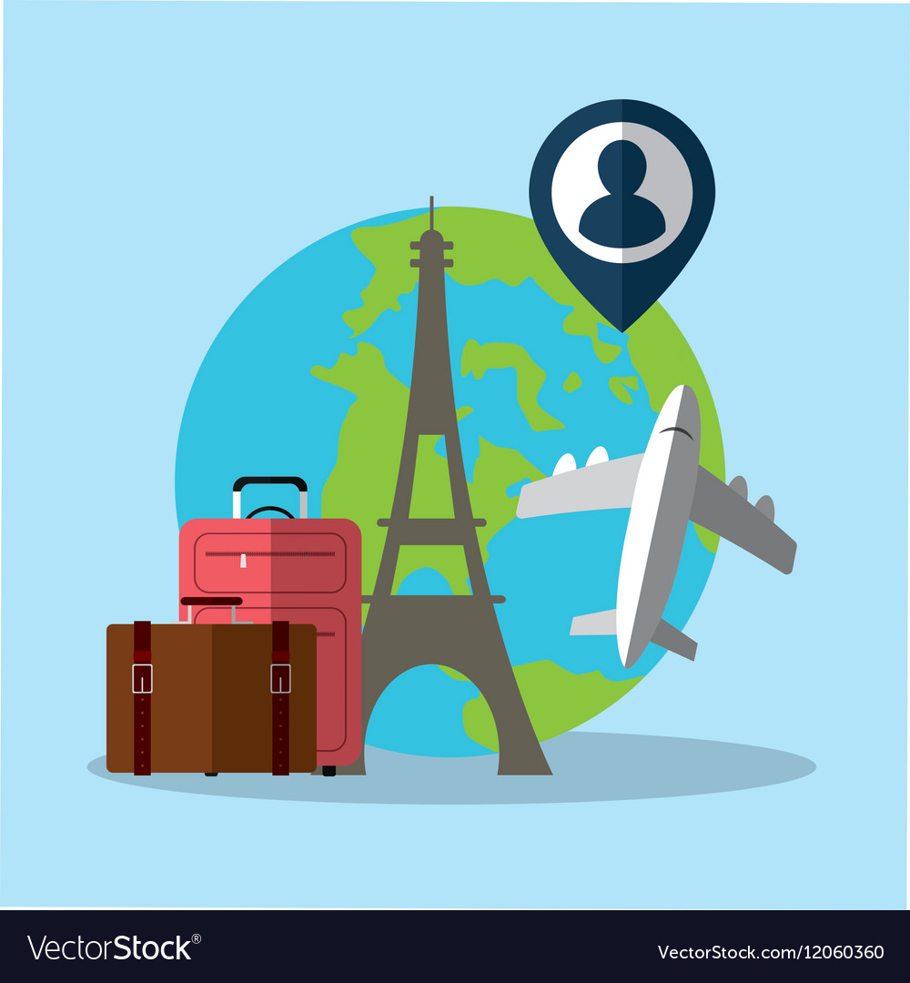 Travel world plane luggage paris pin map Vector Image