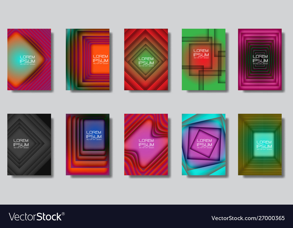 Abstract squares design colorful cover set