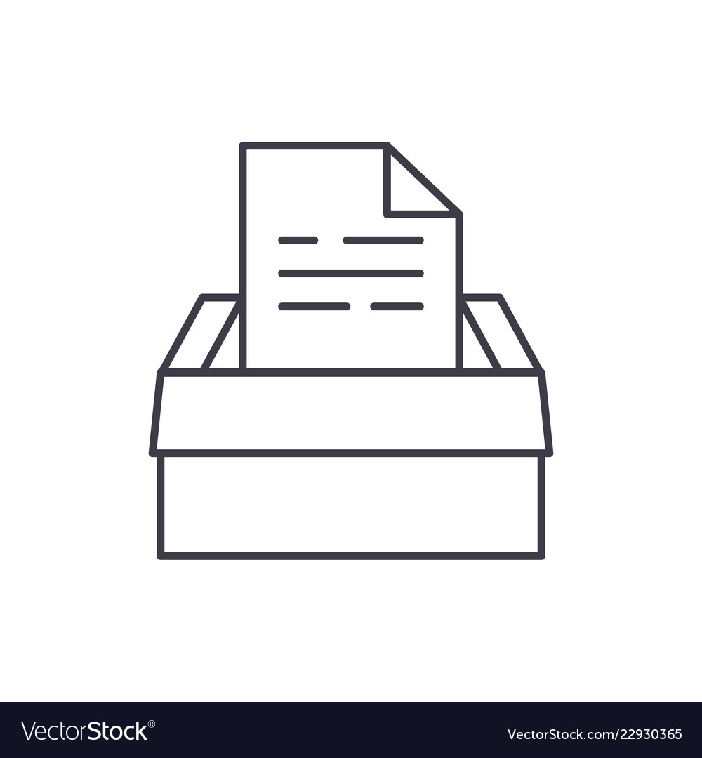 Archive of documents line icon concept archive of