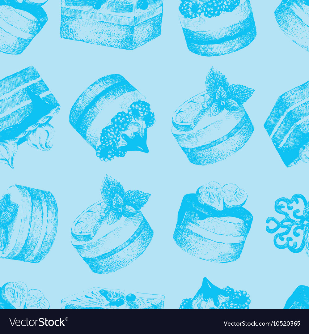 Cakes blue seamless pattern