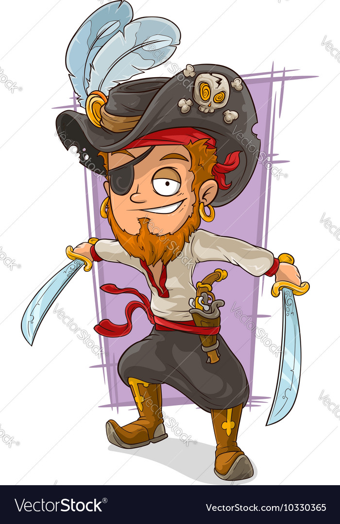 Cartoon pirate with swords and eye