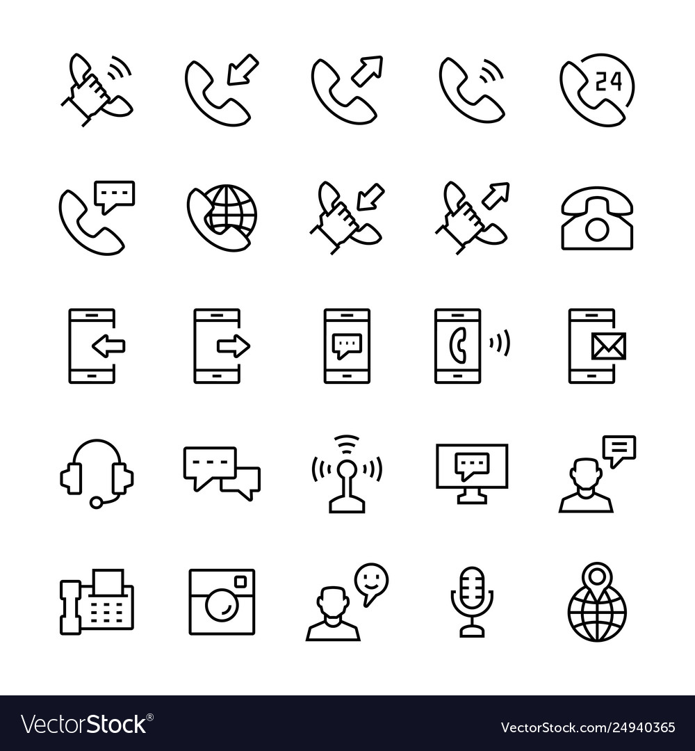 Communication and phone icon set in thin line