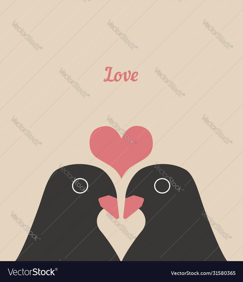 Couple cute birds with heart love cartoons