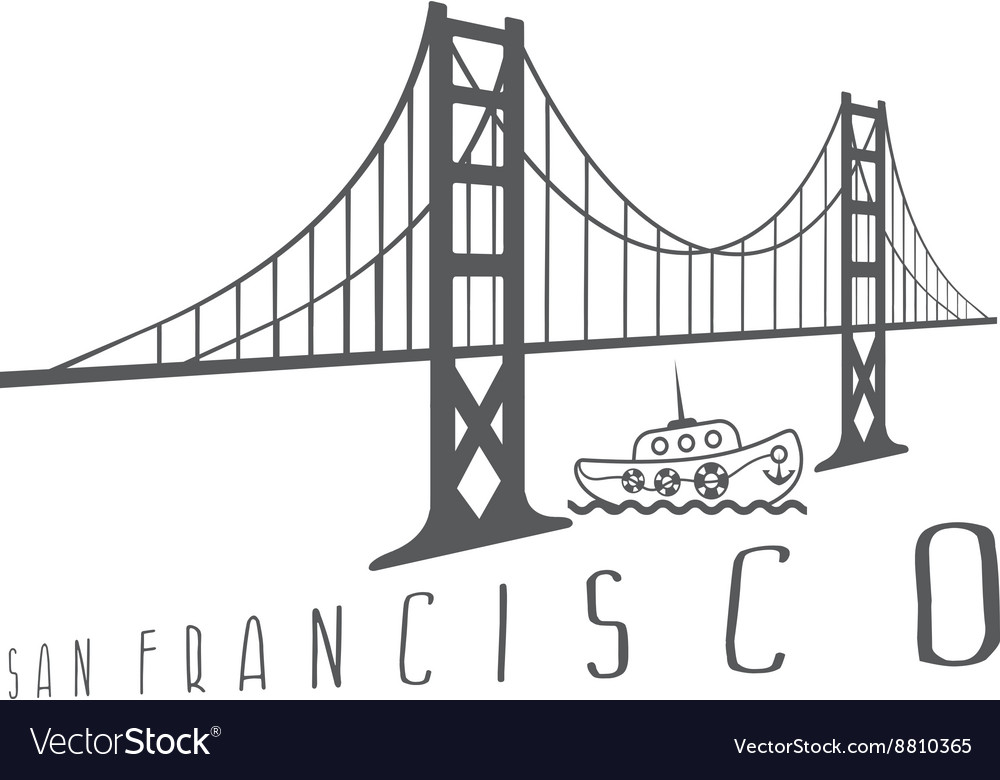 Golden gate bridge in san francisco and boat vector image