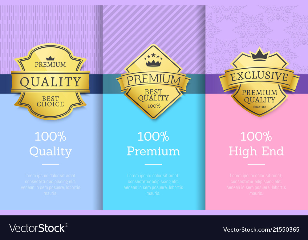 Golden labels with crown 100 quality premium set