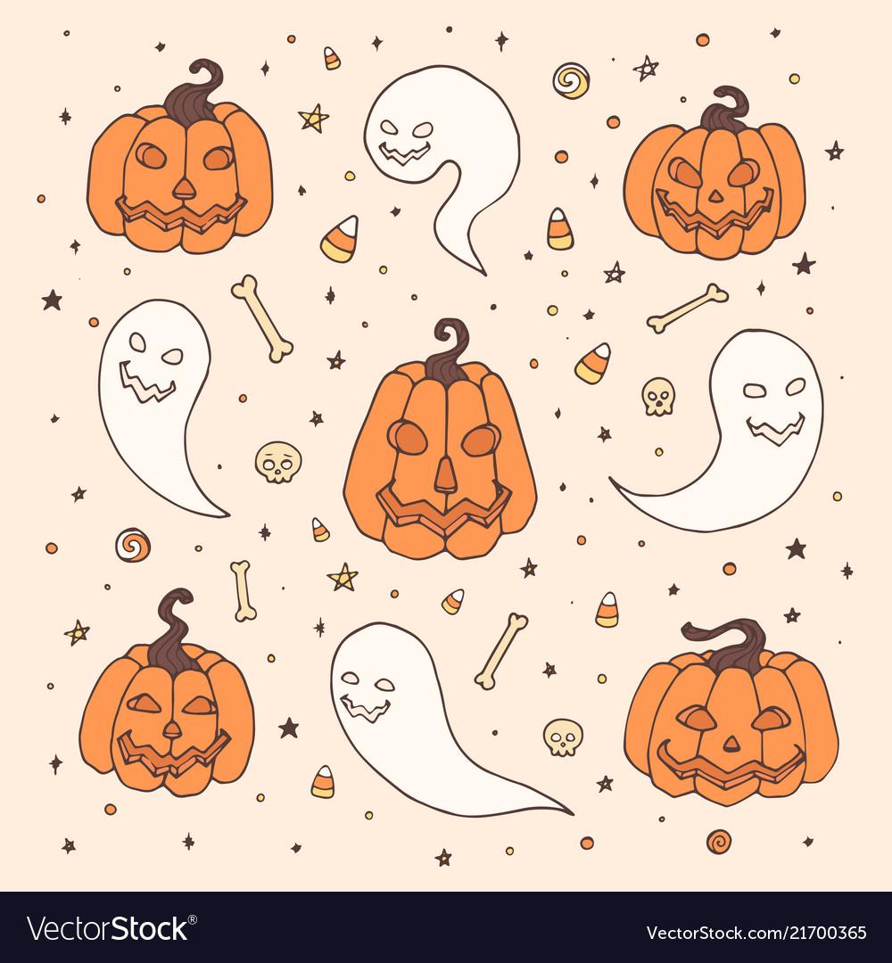 Halloween set with orange pumpkins ghosts bones