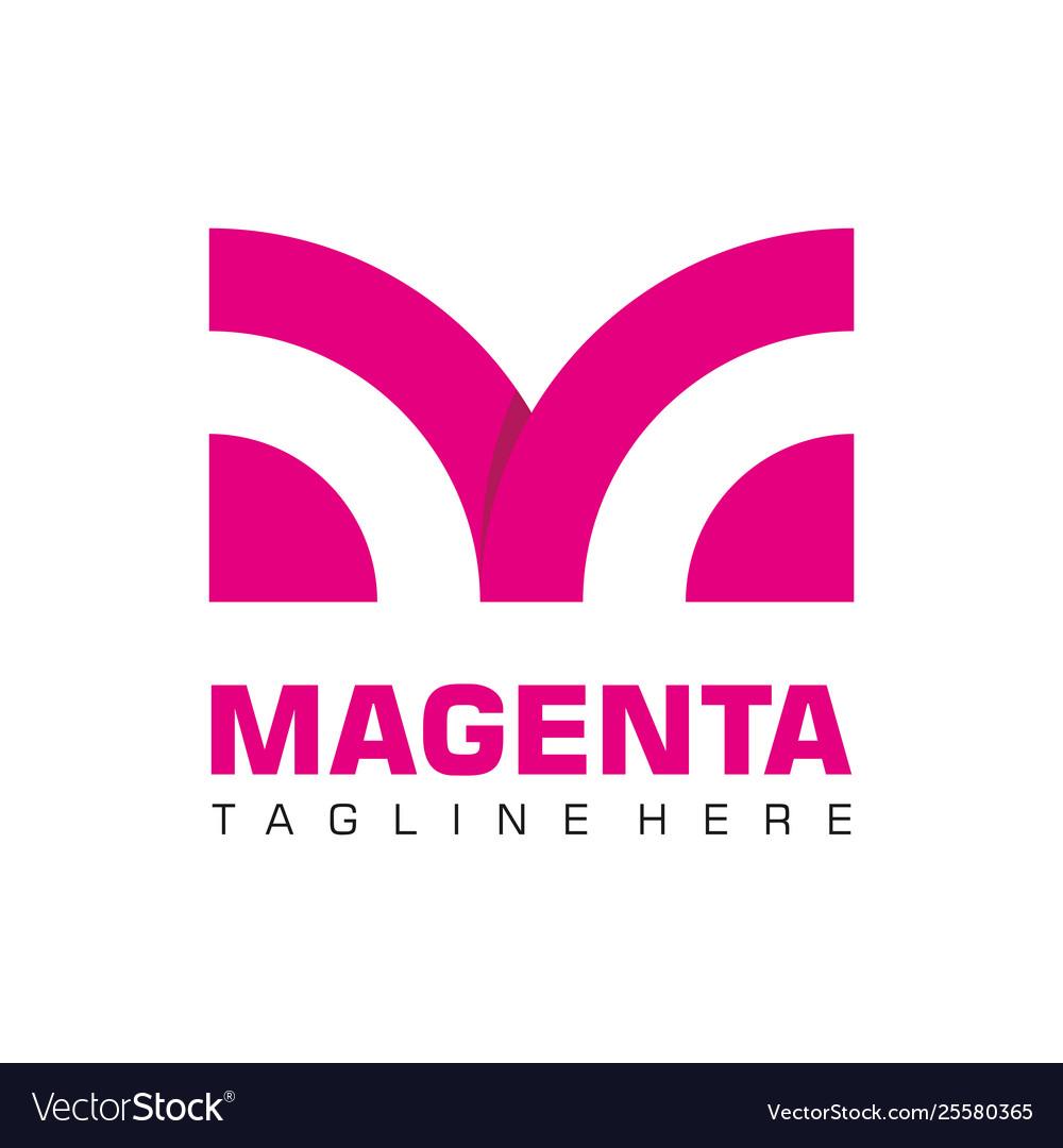 Letter m business logo flat monochrome