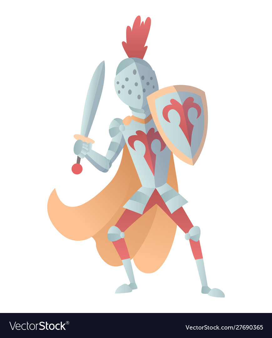 Medieval knight in full armor flat