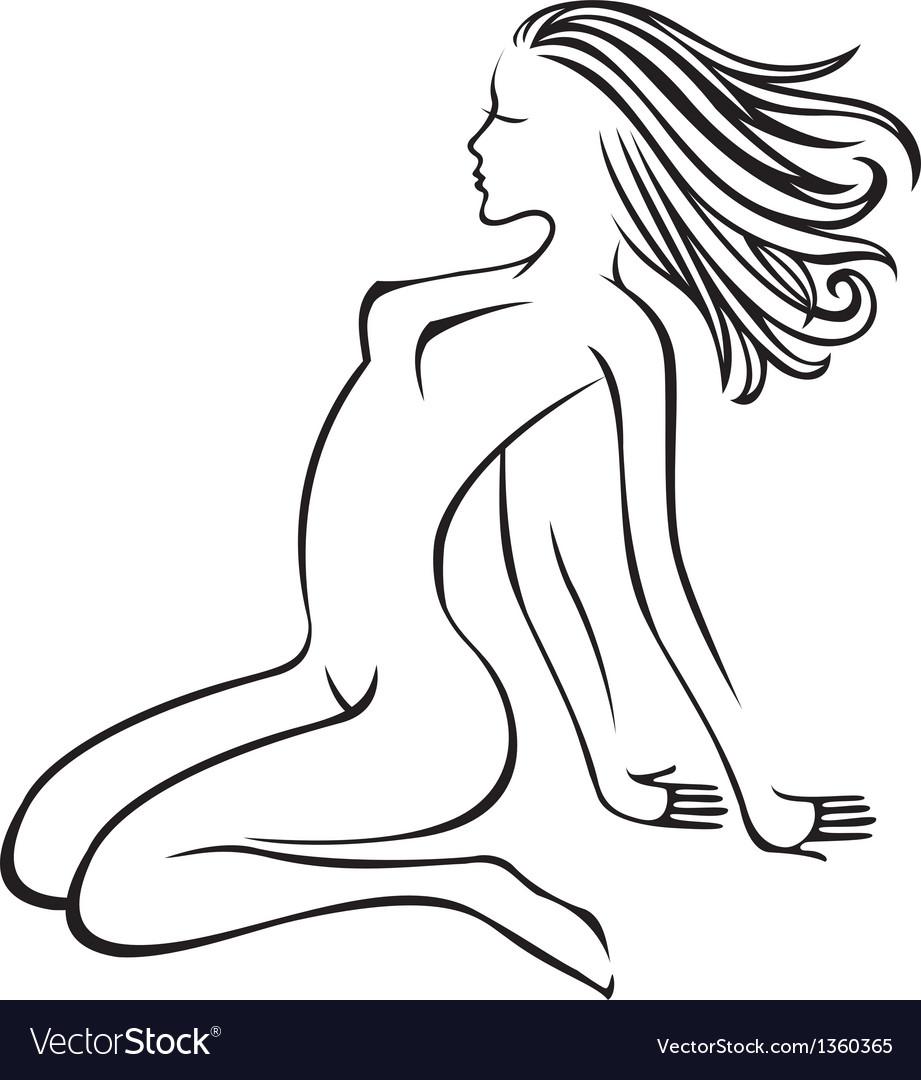 Naked girl vector image