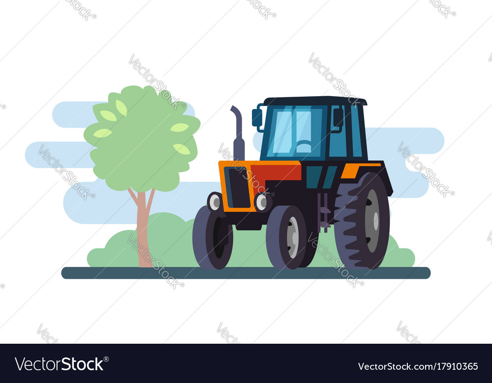 Red tractor on landscape in flat design