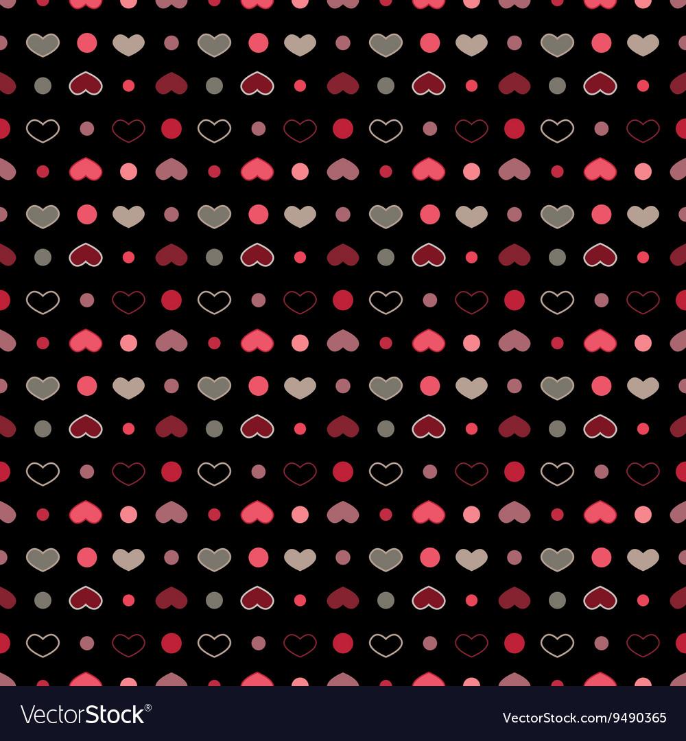 Retro seamless geometric pattern with hearts