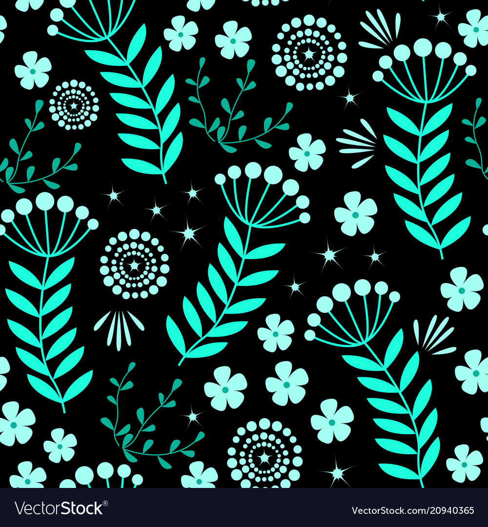 Seamless pattern with blue flowers
