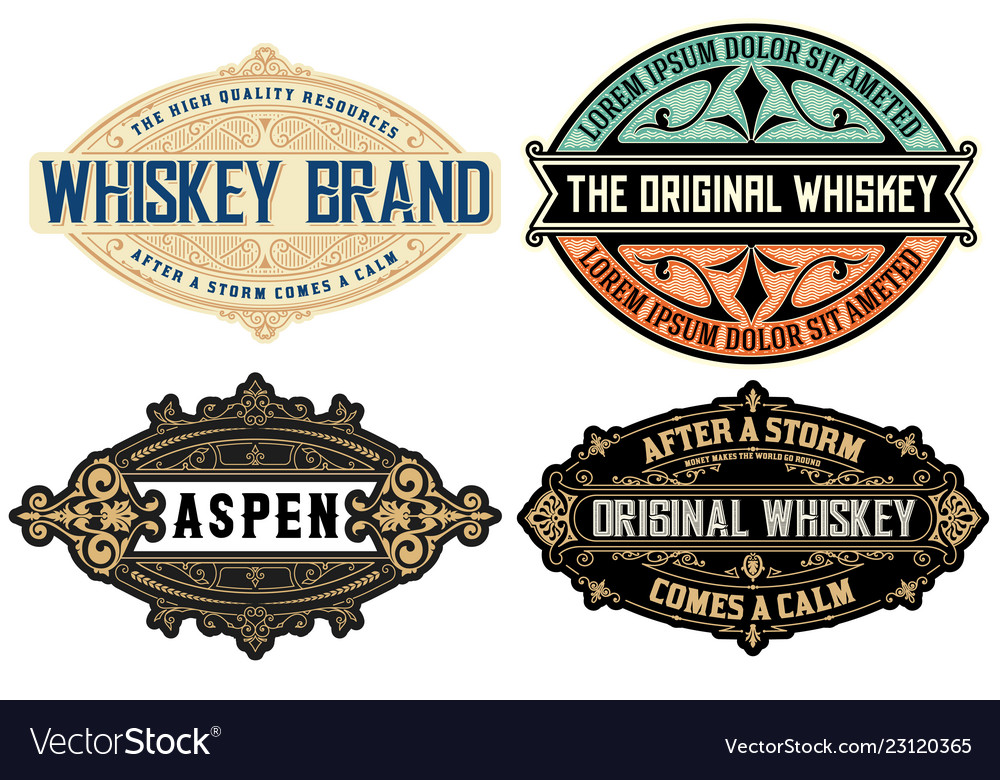 Set of 4 labels or badges for packing