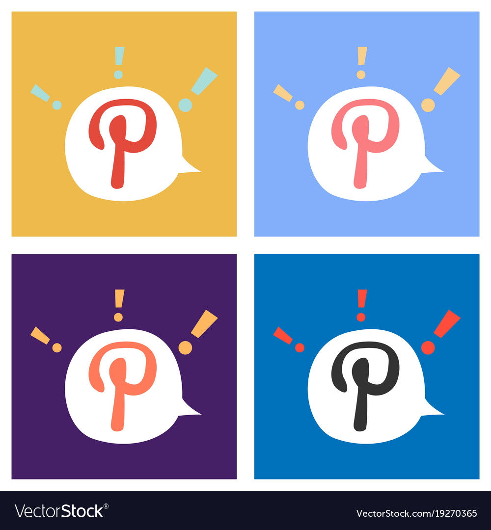 Set of flat icon of pinterest on background with vector image