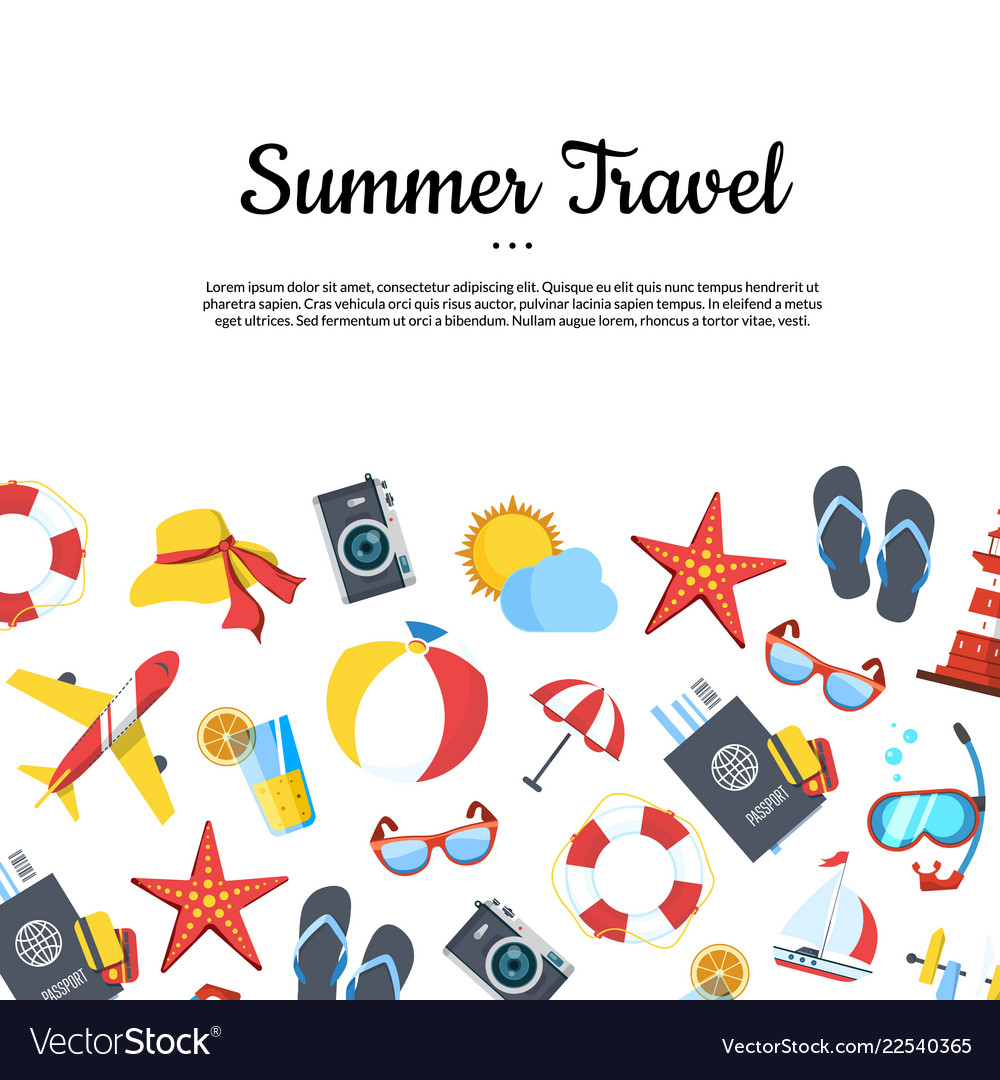 Travel elements background with place for