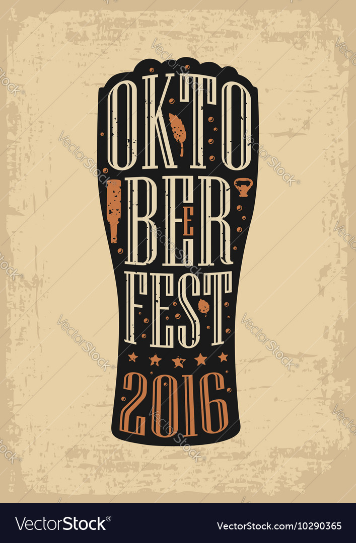 Typography poster Beer glass on brown old paper